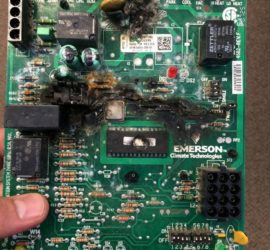 Burnt furnace circuit board